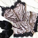 Костюм в бельевом стиле велюровая пижама майка и шортики, фото 2