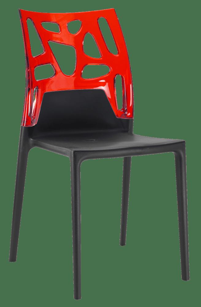 Стул Papatya Ego-Rock черное сиденье, верх прозрачно-красный