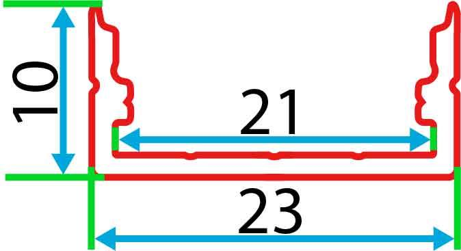Накладний алюмінієвий профіль разом з розсіювачем 2 м для LED стрічки АЛ-15, фото 2