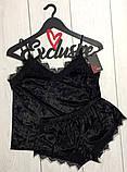 Костюм в бельевом стиле велюровая пижама майка и шортики, фото 5