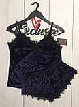 Костюм в бельевом стиле велюровая пижама майка и шортики, фото 6