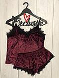 Костюм в бельевом стиле велюровая пижама майка и шортики, фото 8