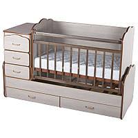 Кроватка детская для новорожденного дм 10 с матрасиком
