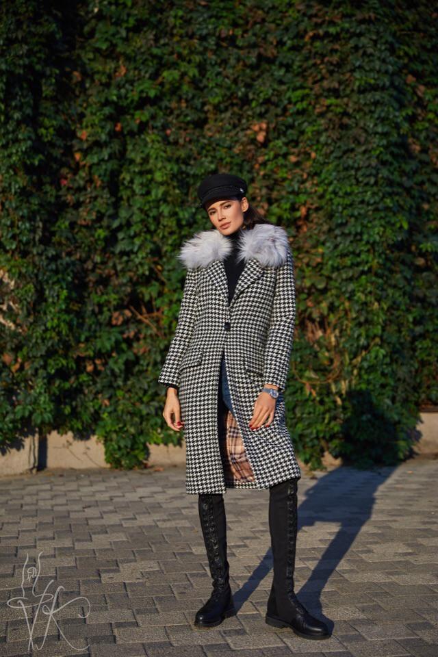 Елегантне демісезонне пальто з принтом гусячі лапки 42-44р