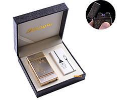 """USB зажигалка в подарочной кожаной коробке """"Орел"""" Электроимпульсная - две перекрещенные молнии"""