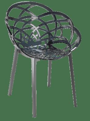 Кресло Papatya Flora прозрачно-дымчатое сиденье, низ антрацит, фото 2