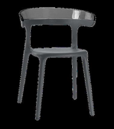 Кресло Papatya Luna антрацит сиденье, верх прозрачно-дымчатый, фото 2