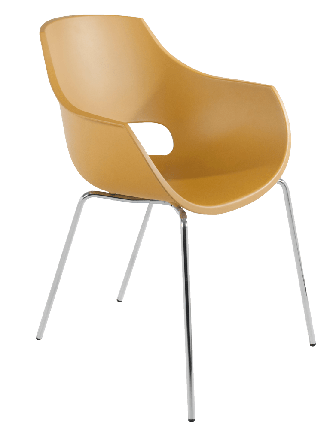 Кресло Papatya Opal матовое желтое, база хром, фото 2