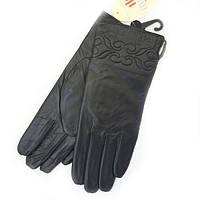 Зимние черные теплые женские перчатки из натуральной кожи