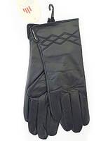 Зимние теплые черные женские перчатки из натуральной кожи