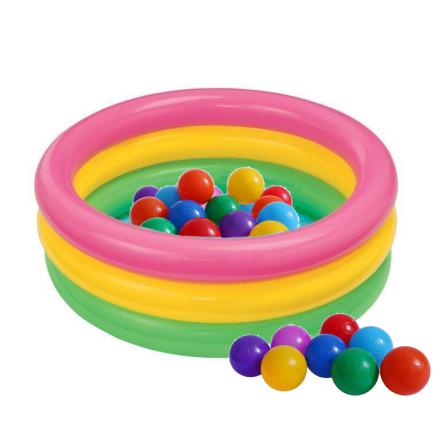 Дитячий надувний басейн Intex 58924-1 «Веселка», з кульками 10 шт, 86 х 25 см
