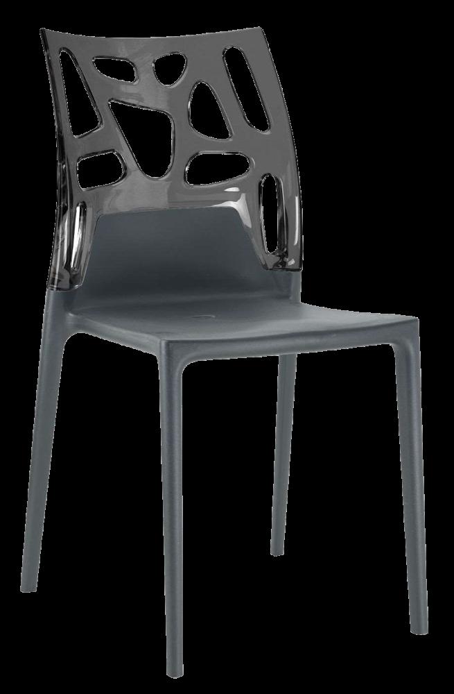 Стул Papatya Ego-Rock антрацит сиденье, верх прозрачно-дымчатый