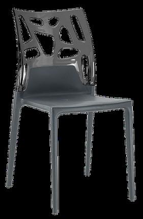 Стул Papatya Ego-Rock антрацит сиденье, верх прозрачно-дымчатый, фото 2