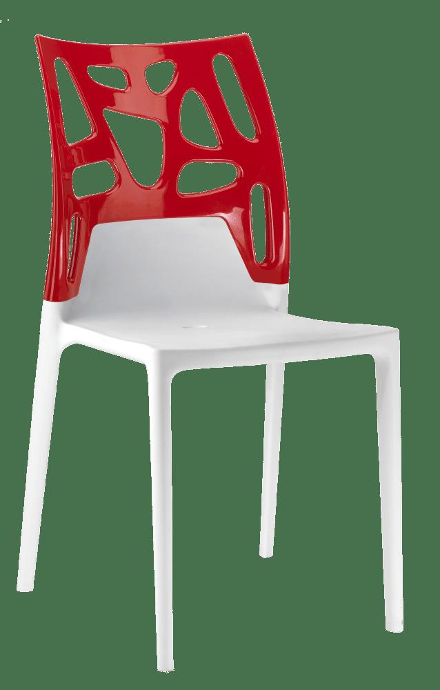 Стул Papatya Ego-Rock белое сиденье, верх красный