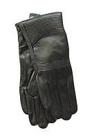 Женские теплые черные кожаные перчатки