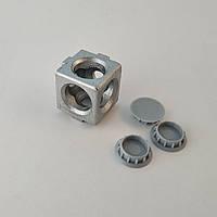 Кутовий з'єднувач куб на три сторони, профіль 20, сірий