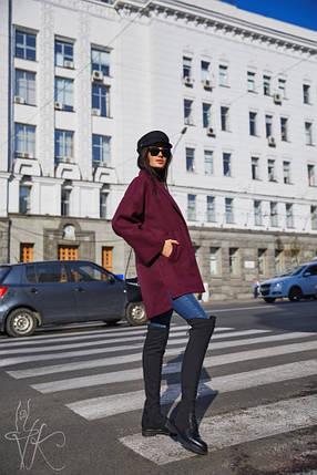 Укороченное демисезонное пальто свободного кроя бордового цвета 42-46 р, фото 2