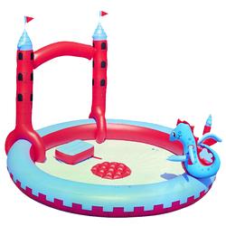 Надувной игровой центр BestWay 53037 «Замок Дракона», 221 х 150 см, с игрушками и фонтаном