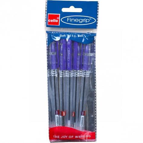 Ручка масляная FINEGRIP Cello фиолетовая  1 упаковка (5 штук), фото 2