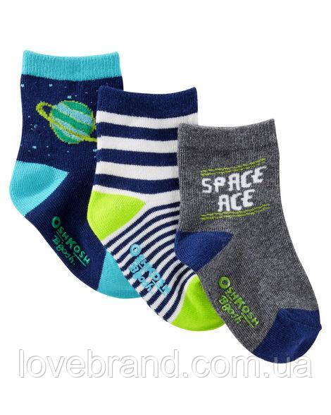 "Набор c 3-х носочков  для мальчика OshKosh ""космос"" 3-12 мес/15-19 р носки для мальчика серые, синие"