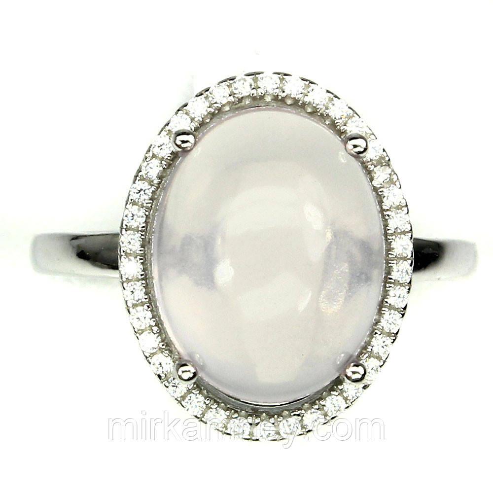 Серебряное кольцо натуральный розовый кварц. Размер 19