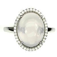 Серебряное кольцо натуральный розовый кварц. Размер 19, фото 1