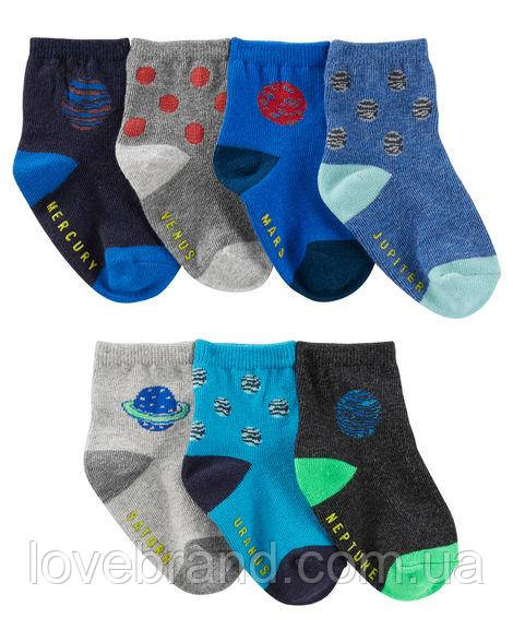 """Набор c 7 пар носочков  для мальчика OshKosh """"космос"""" 3-12 мес/15-19 р носки для мальчика серые, синие"""