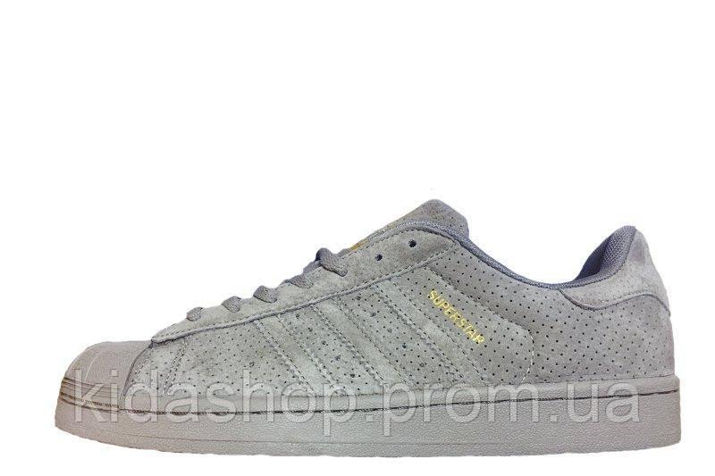 f7ee37518 Женские кроссовки Adidas Superstar Suede Soft Grey W - Kidashop -  интернет-магазин брендовых кроссовок