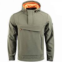 Куртка анорак M-Tac Fighter Soft Shell олива / оранжевая