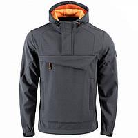 Куртка анорак M-Tac Fighter Soft Shell серая / оранжевая