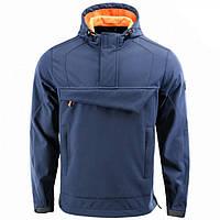 Куртка анорак M-Tac Fighter Soft Shell синяя / оранжевая