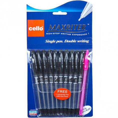 Ручка масляная MAXRITER Cello черная 1 упаковка (10 штук)                     240001Ч, фото 2