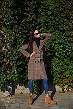 Демисезонное клетчатое пальто с поясом 42-44 р, фото 2