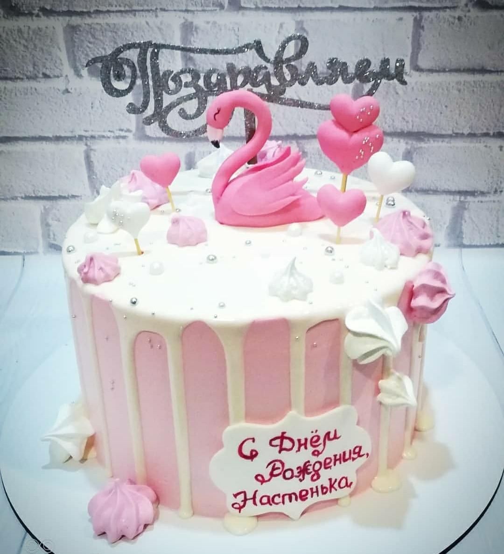 Торт для девочки с лебедем