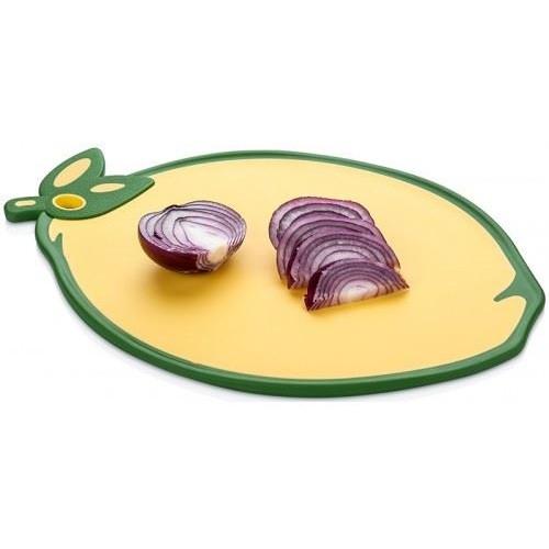 Доска кухонная Лимон, прорезиненная, антискользящая, 34х24 см, пластик, желтый