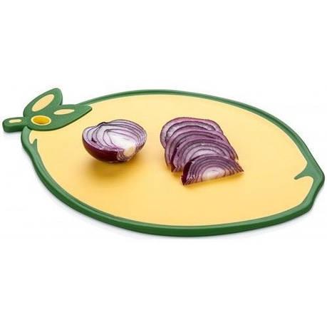 Доска кухонная Лимон, прорезиненная, антискользящая, 34х24 см, пластик, желтый, фото 2