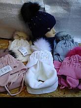Шапочка с шарфиком хомут для девочки с завязками