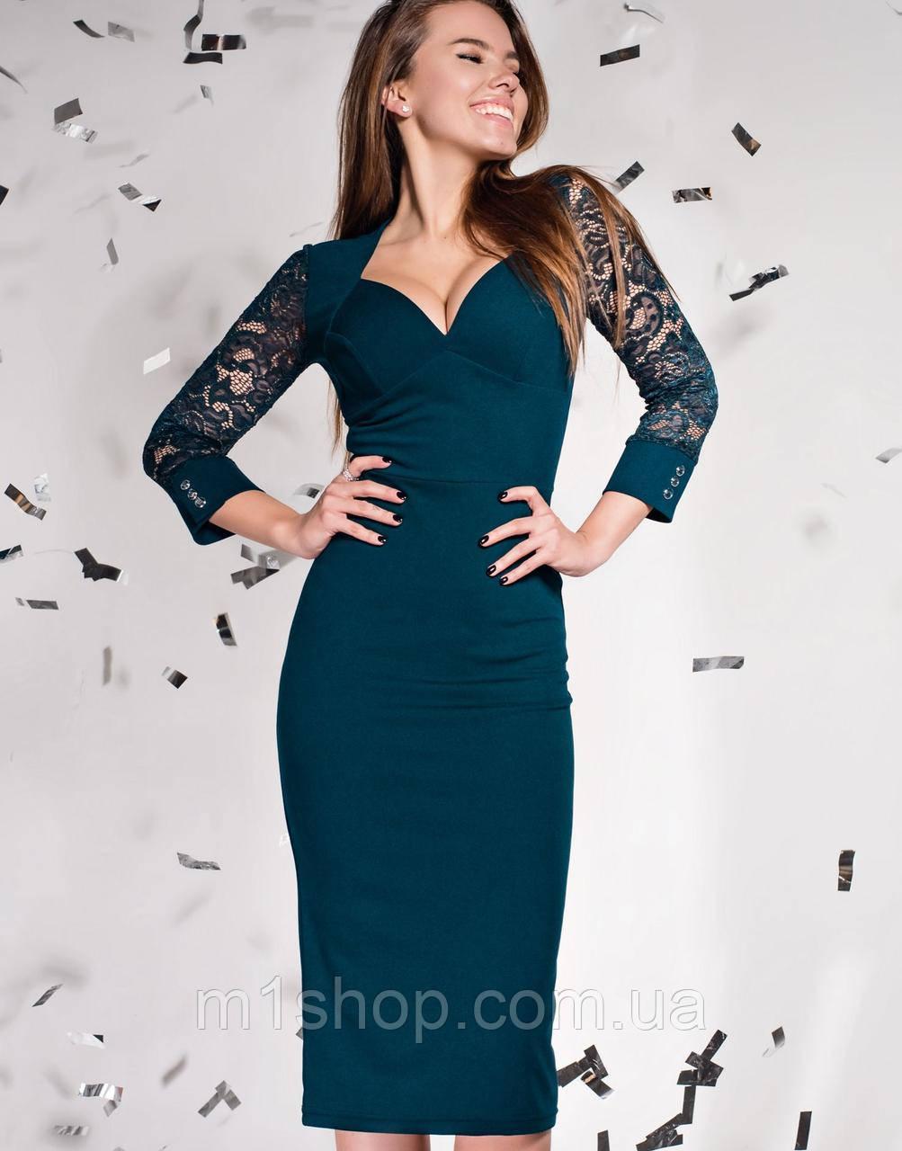 Женское облегающее платье с глубоким декольте (Лазури jd)