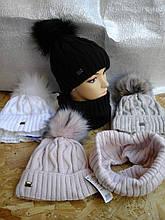 Зимняя шапочка для девочки  с шарфиком баф