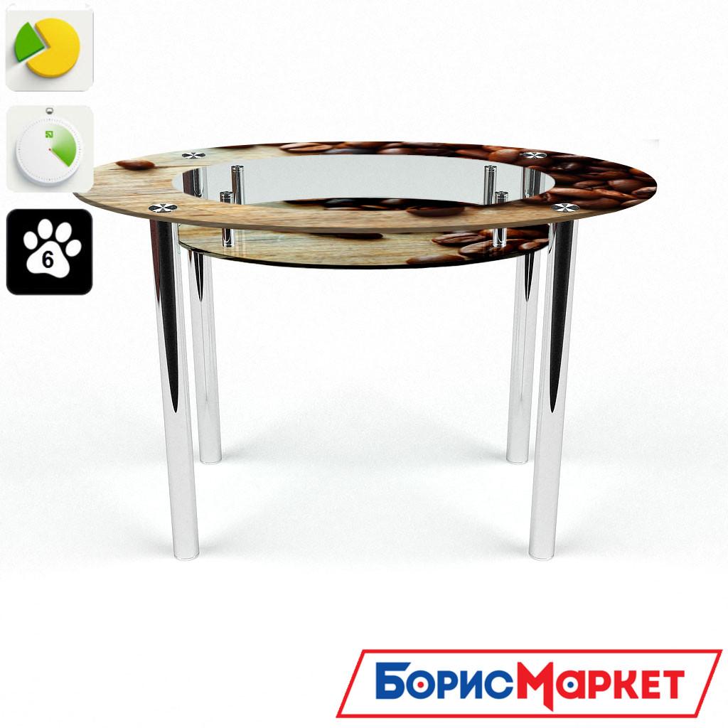 Обеденный стол стеклянный (фотопечать) Овальный с полкой Coffee от БЦ-Стол