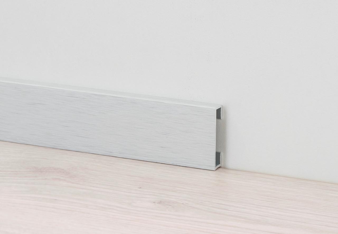Металлический плинтус из алюминия H-40мм Profilpas Design 89/4 Платина, брашированный