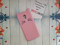 Объемный 3D силиконовый чехол для Meizu M6 Розовый усатый кот