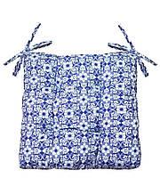 Подушка на стул 40х40см синий узор