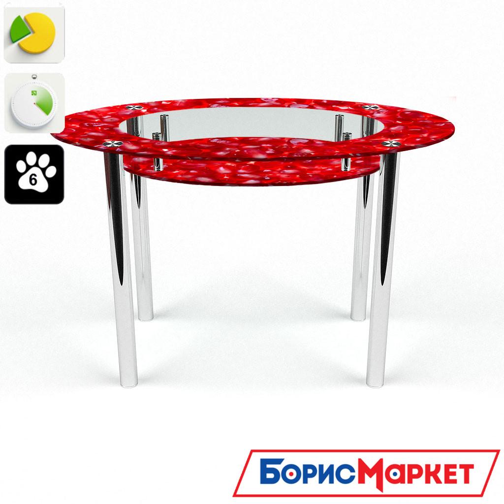 Обеденный стол стеклянный (фотопечать) Овальный с полкой Garnet от БЦ-Стол