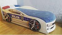 Кровать машина Комаро белая полиция