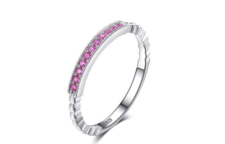 Серебряное кольцо, Дуга, с камнем розовый нано сапфир, размер 16