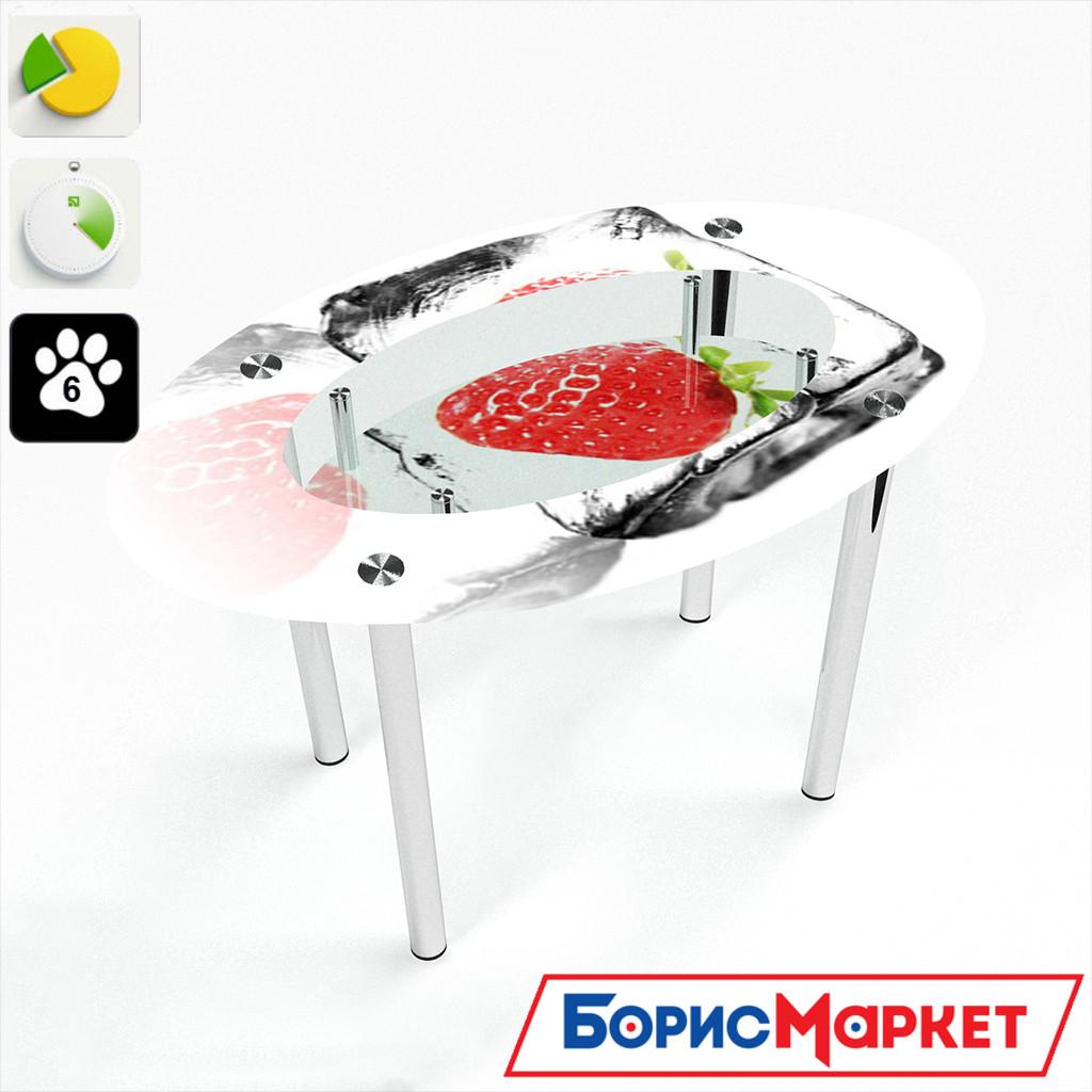 Обеденный стол стеклянный (фотопечать) Овальный с полкой Ice berry от БЦ-Стол