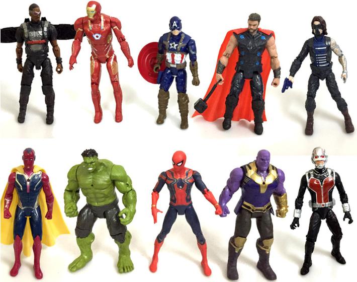 Набор фигурок Мстители Война бесконечности (Халк  Танос  Капитан Америка  Человек Паук  Железный Человек  Тор)