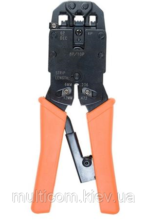 12-02-066. Инструмент обжимной для разъемов 4p4c, 6p6c (RJ-12), 8p8c (RJ-45), 10p10c (RJ-50), HT-200R