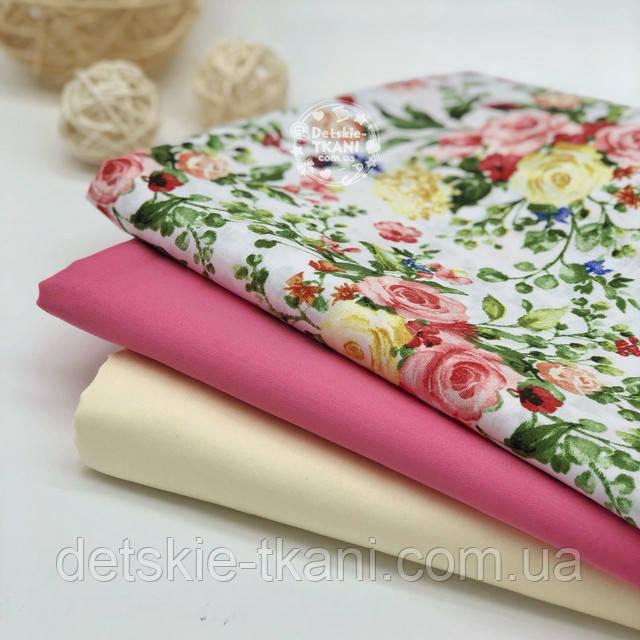 хлопковая ткань с цветочным принтом